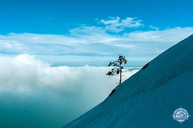 В холодном кулуаре Чатырдага. Граница облачности ~ 1300 м